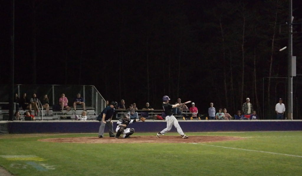 Panther Logan Mancuso smacks a ninth-inning double last night at Gilmer. The game-winning hit scored Lance Rich and pushed Union back out front, 5-4. (Photo by: Kevin Hensley)